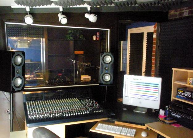 pro tools studio with analog console small control room