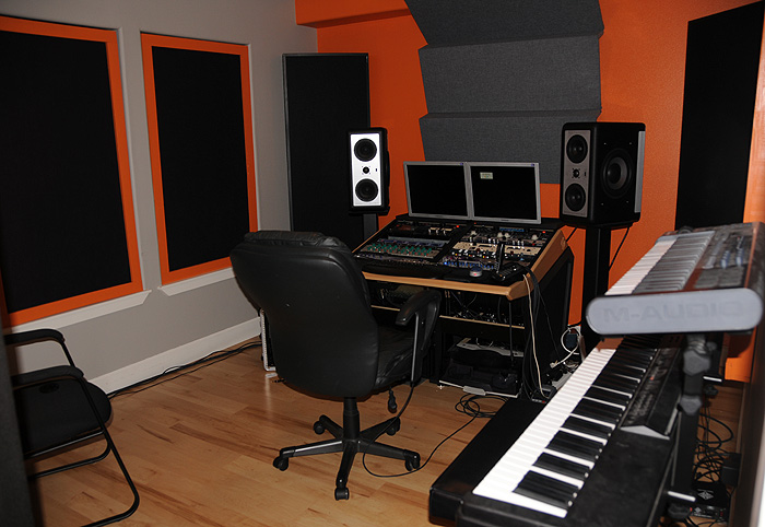 Small space, rack gear, front wall acoustic treatment. Bit too orange ...