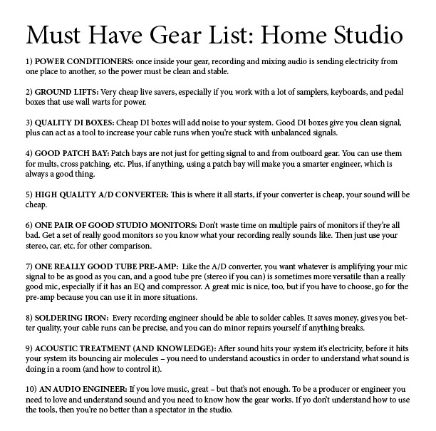 Fine Must Have Audio Gear For Home Recording Studio Set Up Largest Home Design Picture Inspirations Pitcheantrous