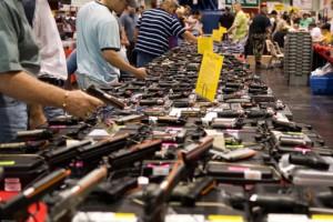 Gun show, rows and rows of guns.