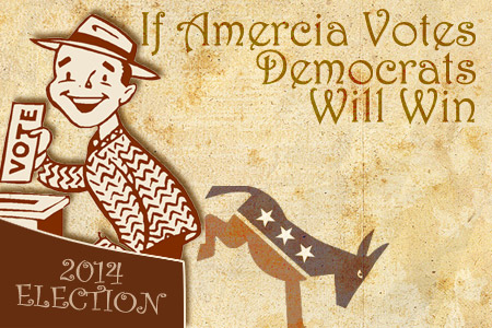 American voter. Democrats can win 2014 election if they get out the vote. Old style drawing