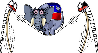 Funny republican elephant walking on a tightrope. 2014 election to win back Congress.