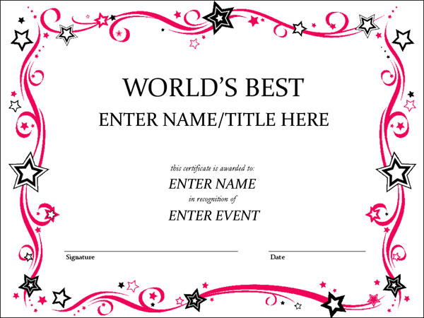 World's Best Certificate, enter name here