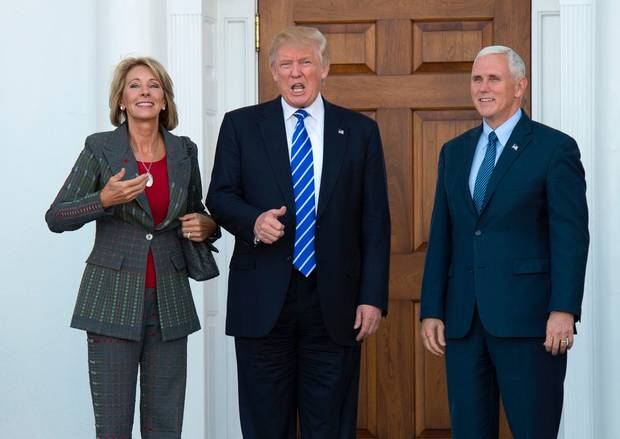 Donald Trump with School Voucher advocate Betsy DeVos and Mike Pence