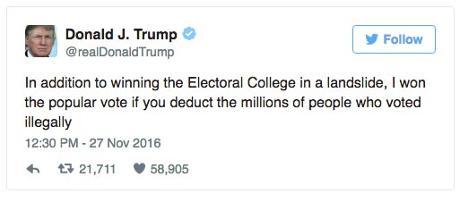 "Donald Delusion of the Day: ""Won in a landslide"", millions voted illegally"