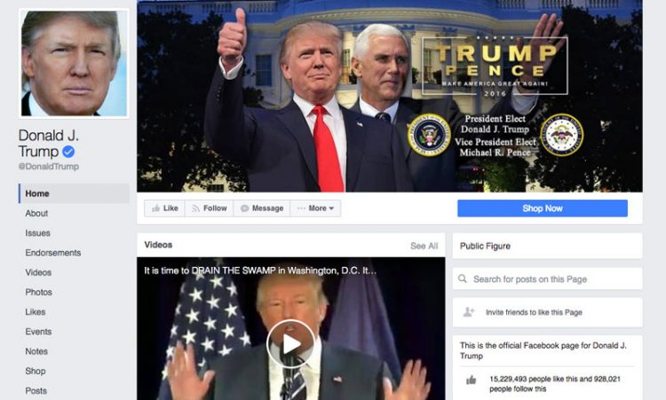 screenshot Donald Trump facebook page