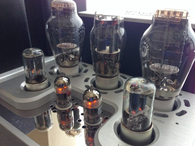 Tube stereo amplifier, tube close up