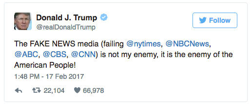 Trump tweet against news media
