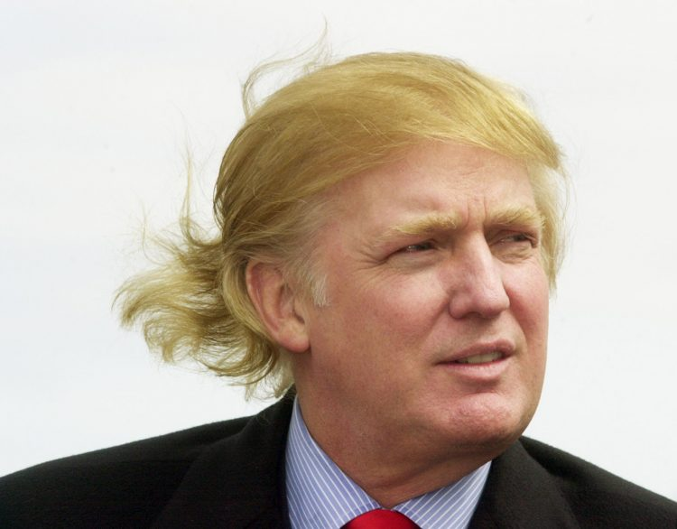 Donald Trump's hair in the wind.